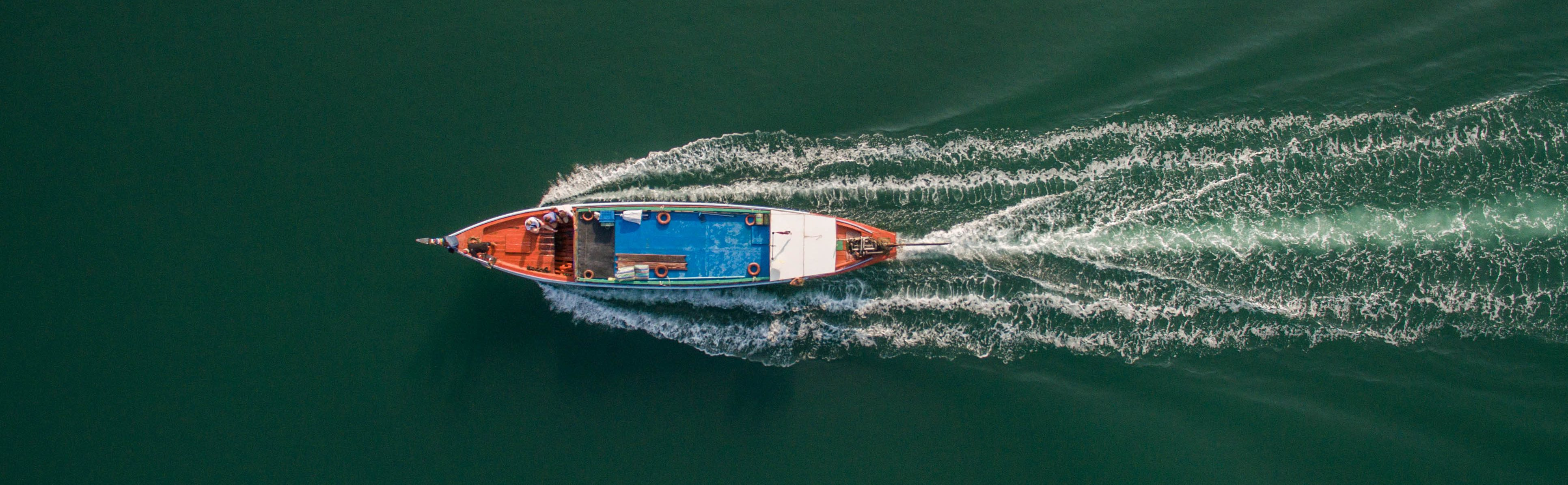 Aerial cinematography, drone top shot Longtailboat GTC