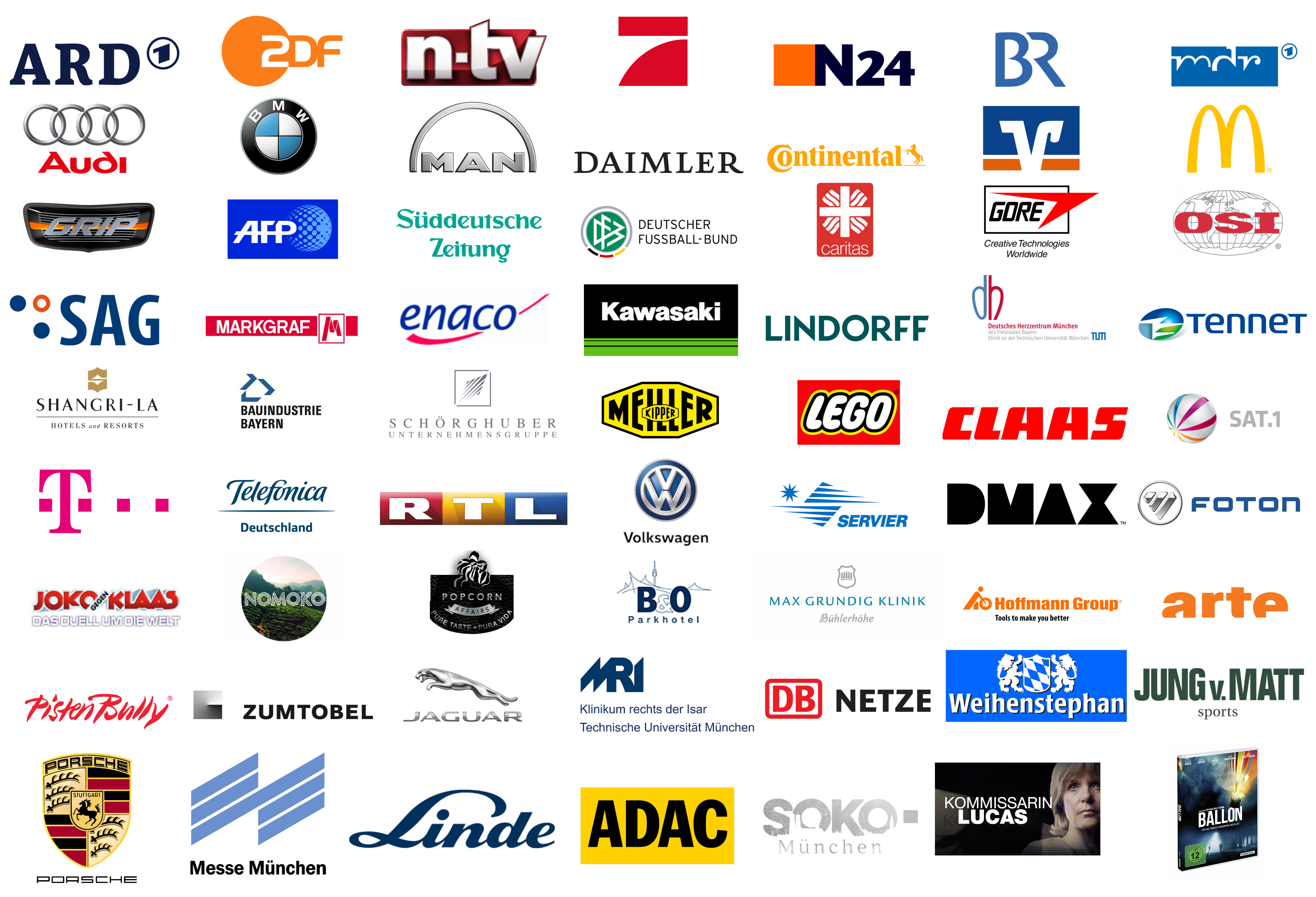 Drohnenpilot DJI ARD, ZDF, N-TV, ProSieben, N24, BR, MDR, Audi, BMW, MAN, Jaguar, Daimler, Continental, Volksbank, Mc Donalds, Grip, AFP, Süddeutsche Zeitung, DFB, Caritas, Gore, OSI, SAG, Markgraf, Enaco, Kawasaki, Lindorff, DHZ, Tennet, Meiller, Lego, Claas, Sat.1, RTL, DMAX, Foton, Servier